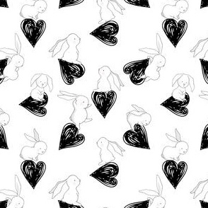 "4"" BUNNY LOVE BLACK HEARTS"
