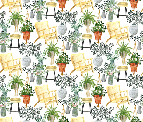 Boho Garden Lady  fabric by limezinniasdesign on Spoonflower - custom fabric