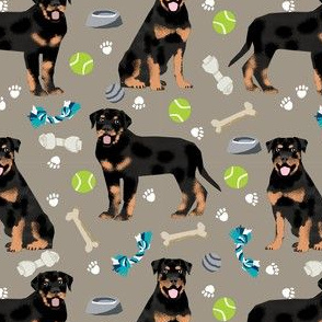 rottweiler dog fabric - dogs and toys - brown