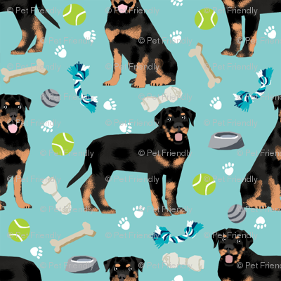 rottweiler dog fabric - dogs and toys - blue