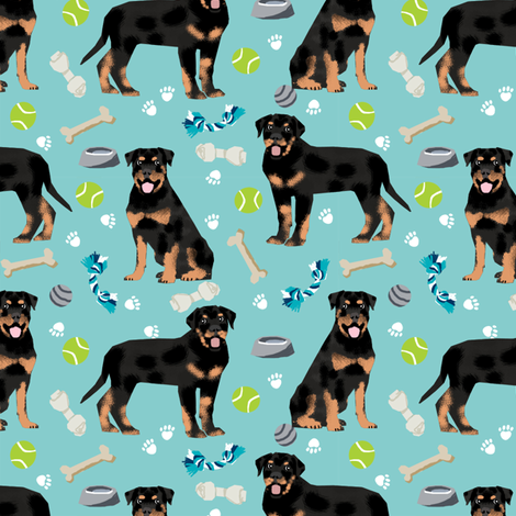 rottweiler dog fabric - dogs and toys - blue fabric by petfriendly on Spoonflower - custom fabric