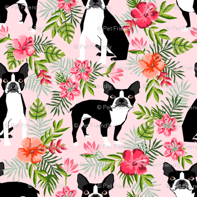 boston terrier dog fabric dogs and hawaiian floral design - pink