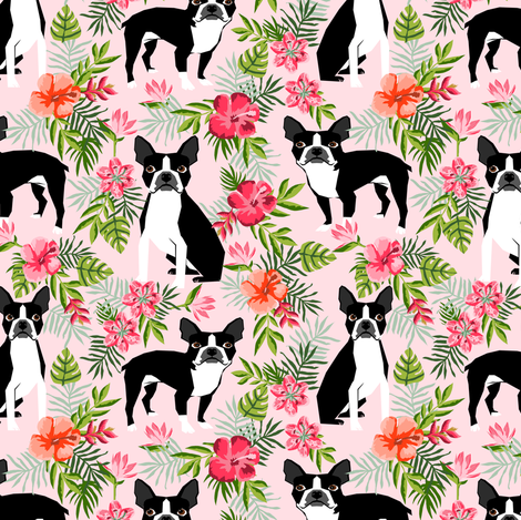 boston terrier dog fabric dogs and hawaiian floral design - pink fabric by petfriendly on Spoonflower - custom fabric