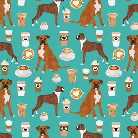 boxer dog coffee fabric - boxers  and coffees - turq fabric by petfriendly on Spoonflower - custom fabric