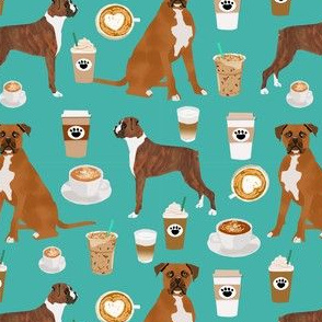 boxer dog coffee fabric - boxers  and coffees - turq