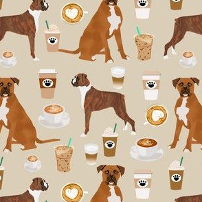 boxer dog coffee fabric - boxers  and coffees - tan