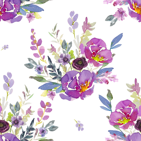 """8"""" Lilac Watercolor Bouquet fabric by shopcabin on Spoonflower - custom fabric"""