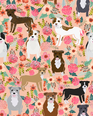 staffordshire terrier dog fabric staffy floral design - peach