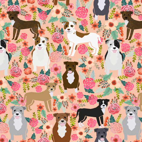staffordshire terrier dog fabric staffy floral design - peach fabric by petfriendly on Spoonflower - custom fabric