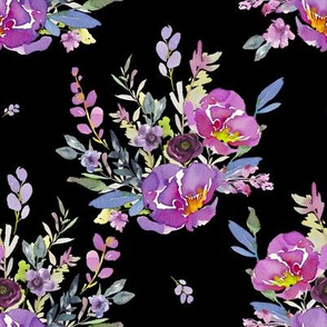 "8"" Lilac Watercolor Florals / Black"