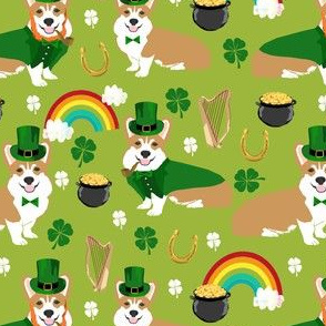 corgi leprechaun fabric - st pattys day fabric - lime