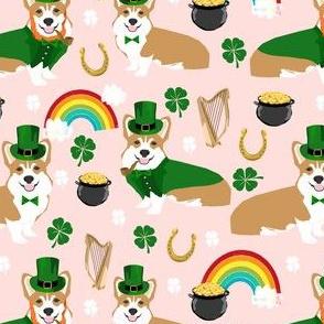 corgi leprechaun fabric - st pattys day fabric - pink