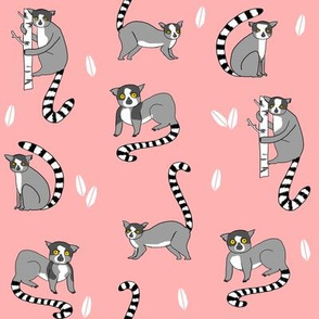 lemur // animal nature jungle lemurs fabric coral