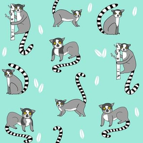 lemur // animal nature jungle lemurs fabric bright blue