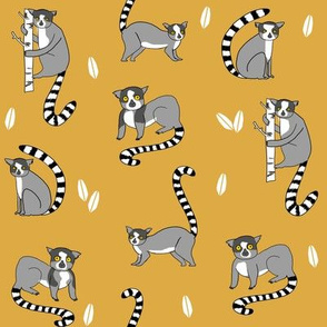 lemur // animal nature jungle lemurs fabric yellow