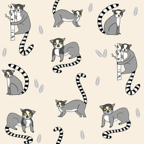 lemur // animal nature jungle lemurs fabric tan