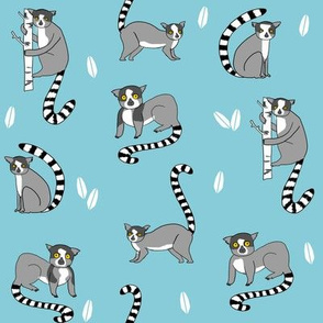 lemur // animal nature jungle lemurs fabric medium blue