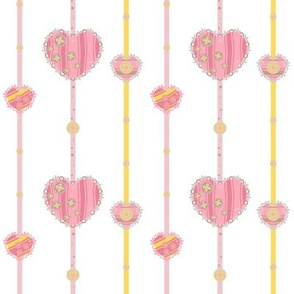 CY. Cotton hearts with buttons