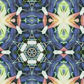 Kaleidoscope Cannabis Leaves Green/Blue/Orange