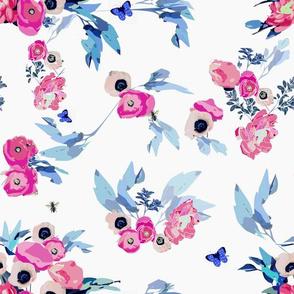 blue pink floral bouquet watercolor flowers english garden