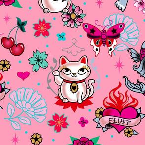 Lucky Cat Maneki Neko , Dragons and Koi fish-PINK-LARGE