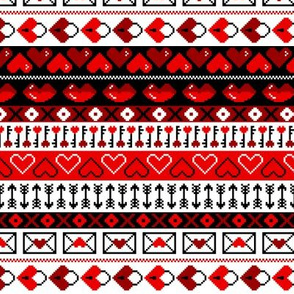 8 Bit Valentines Heart Stripes Pattern Red