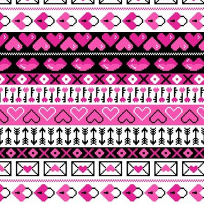 8 Bit Valentines Heart Stripes Pattern Pink