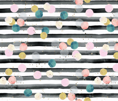 rainbow dots on stripe fabric by crystal_walen on Spoonflower - custom fabric