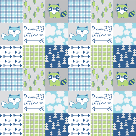 raccoon and fox wholecloth-navy-green-light blue fabric by lilcubby on Spoonflower - custom fabric