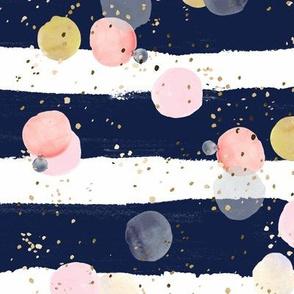 Dots on Navy Stripe