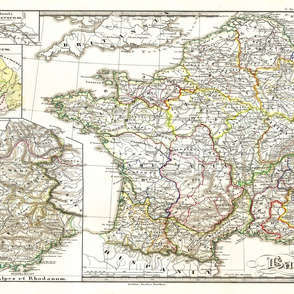 """1855 Map of Gaul (27""""W)"""