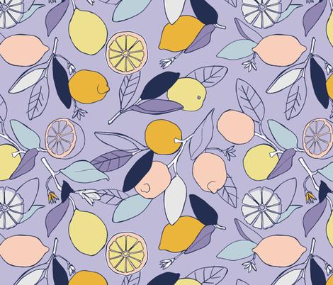 Lemon grove in purple fabric by lburleighdesigns on Spoonflower - custom fabric