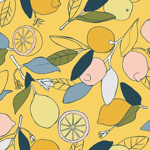 Lemon groves in yellow and blue