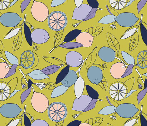 Lemon grove in peach and lime fabric by lburleighdesigns on Spoonflower - custom fabric