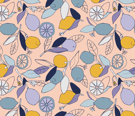 Lemon grove in peach and blue fabric by lburleighdesigns on Spoonflower - custom fabric