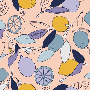 Lemon grove in peach and blue