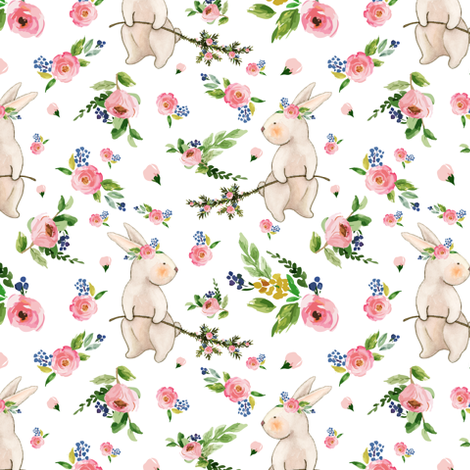 Watercolor Easter Bunnies Spring Floral on White  fabric by twodreamsshop on Spoonflower - custom fabric