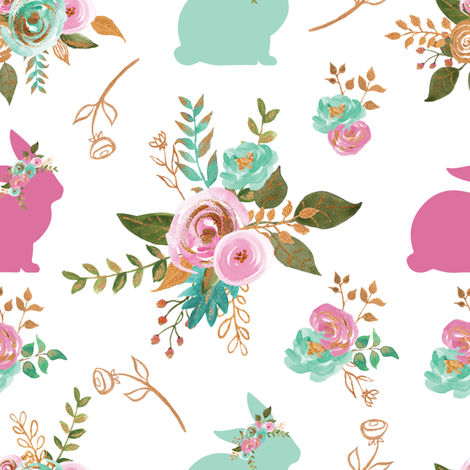Easter Bunny Mint, Pink and Gold  fabric by twodreamsshop on Spoonflower - custom fabric