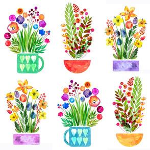 Flowerpots, decorative flowers