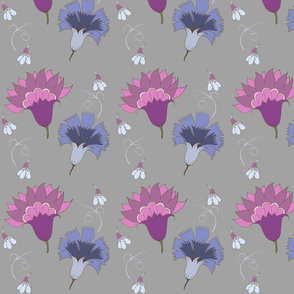 Violet And Blue Floral Pattern