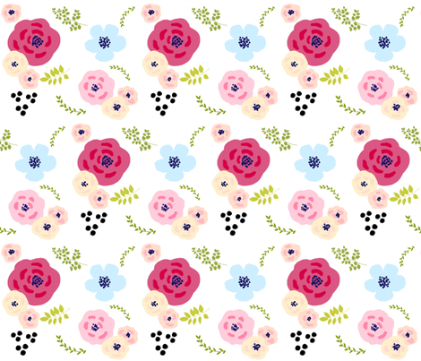 flower doodles XLG14- spring garden - peachy fabric by drapestudio on Spoonflower - custom fabric