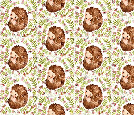 Hedgehog hug fabric by potyautas on Spoonflower - custom fabric