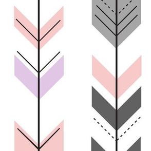 fletching arrows - pink, grey, pink arrow coordinates with fearfully and wonderfully made quilt top