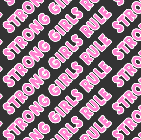 Strong girls rule  - pink and grey fabric by littlearrowdesign on Spoonflower - custom fabric