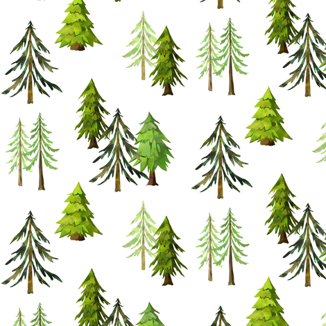 Pine Tree Forest - Woodland Trees SMALL SCALE C fabric by gingerlous on Spoonflower - custom fabric
