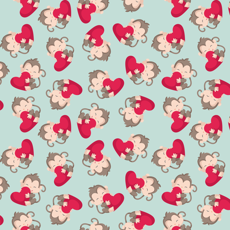 Monkeys with Hearts fabric by dorkydoodles on Spoonflower - custom fabric