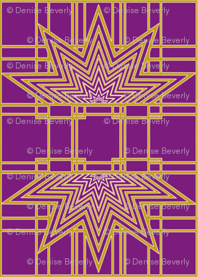 Art Deco Large Scale Purple and Gold