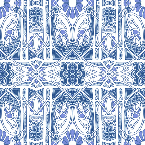 Nouveau Blue Lace Place fabric by edsel2084 on Spoonflower - custom fabric