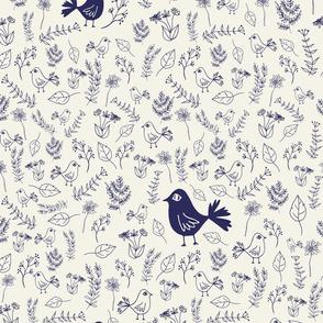floral bird blue small