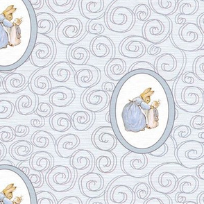 Peter Rabbit and Mother Rabbit - Light Blue Scrolls - Medium Scale